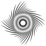 Abstract geometric spiral, ripple element with circular, concent. Ric lines. Abstract monochrome element - Royalty free vector illustration Stock Photography