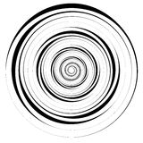 Abstract geometric spiral, ripple element with circular, concent. Ric lines. Abstract monochrome element - Royalty free vector illustration Stock Images