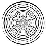 Abstract geometric spiral, ripple element with circular, concent. Ric lines. Abstract monochrome element - Royalty free vector illustration Royalty Free Stock Photo