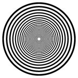 Abstract geometric spiral, ripple element with circular, concent. Ric lines. Abstract monochrome element - Royalty free vector illustration Royalty Free Stock Images