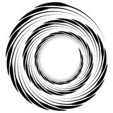 Abstract geometric spiral, ripple element with circular, concent. Ric lines. Abstract monochrome element - Royalty free vector illustration Stock Photo