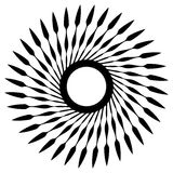 Abstract geometric spiral, ripple element with circular, concent. Ric lines. Abstract monochrome element - Royalty free vector illustration Stock Image