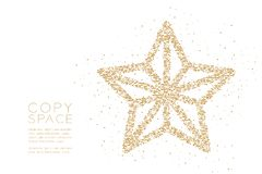 Abstract Geometric Square box pixel pattern Christmas star shape, Happy New Year celebration concept design gold color illustratio. N on white background with stock illustration