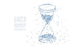 Abstract Geometric Square box pixel pattern 3d isometric Hourglass shape, digital reminder concept design blue color illustration. On white background with copy Royalty Free Stock Photography
