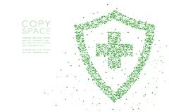 Abstract Geometric Square box pixel pattern Medical shield with cross sign shape, protection concept design green color illustrati. On on white background with Stock Illustration