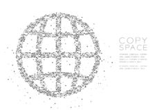 Abstract Geometric Square box pixel pattern Network icon shape, concept design black color illustration. On white background with copy space, vector eps 10 vector illustration