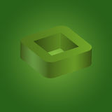 Abstract geometric square 3d logo. On green background, Vector illustration eps10 Royalty Free Stock Image