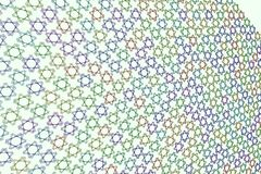 Abstract geometric star pattern, colorful & artistic for graphic design, catalog, textile or texture printing & background. 3D perspective view. Style of Royalty Free Stock Image