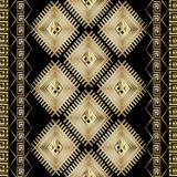 Meander seamless patter with borders. Abstract geometric striped seamless border pattern. Black gold ethnic background. Aztec style tribe shapes, stripes Stock Photography