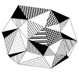 Abstract geometric striped triangles background in black and white, vector Stock Photography