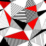 Abstract geometric striped triangles seamless pattern in black white and red, vector