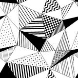 Abstract geometric striped triangles seamless pattern in black and white, vector