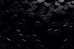 Abstract geometric surface. Hexagonal black background. 3D Rendering. Abstract geometric surface. Hexagonal black background, 3D Rendering royalty free illustration