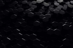 Abstract geometric surface. Hexagonal black background. 3D Rendering. Abstract geometric surface. Hexagonal black background, 3D Rendering Stock Photos