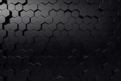 Abstract geometric surface. Hexagonal black background. 3D Rendering. Abstract geometric surface. Hexagonal black background, 3D Rendering stock illustration