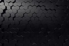Abstract geometric surface. Hexagonal black background. 3D Rendering. Abstract geometric surface. Hexagonal black background, 3D Rendering Stock Illustration