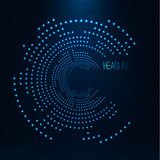 Abstract geometric technology shape of glowing particles . Broken light neon dots and Network connection. Neon circles consist of lights .Vector digital HUD Royalty Free Stock Photography
