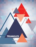 Geometric template with multicolored triangles. Vector. Abstract geometric template with multicolored triangles. Vector graphic layout. CMYK colors royalty free illustration