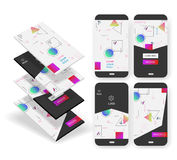 Abstract geometric UI screens 3d mockups. 3d trendy mobile smartphone abstract background wallpaper screens kit, for startups and apps, with new retro 80s - 90s Royalty Free Stock Image