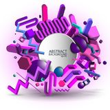 Abstract geometric ultraviolet 3d background - vector eps10.  Stock Photo