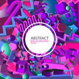 Abstract geometric ultraviolet 3d background - vector eps10.  Royalty Free Stock Image