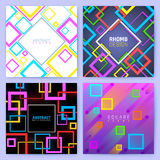 Abstract geometric vector backgrounds with color squares. Creative design business brochure template. Colored geometric poster leaflet illustration Stock Image