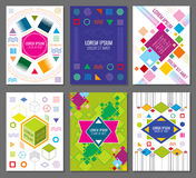 Abstract geometric vector banners, posters, flyers set in bauhaus design style. Hipster colored chaotic style illustration royalty free illustration