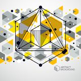 Abstract geometric vector yellow background with cubes and other. Elements. Composition of cubes, hexagons, squares, rectangles and abstract elements. Perfect stock illustration