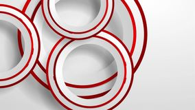 Abstract geometric video animation with grey and red paper circles