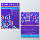 Abstract geometric violet red orange abstract flyer placard temp Stock Photography