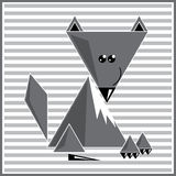 Abstract geometric wolf. Illustration of abstract geometric wolf on the striped background Royalty Free Stock Photography