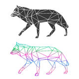 Abstract geometric wolf set isolated on white background for use in design. For card, invitation, poster, banner, placard or billboard cover Stock Photos
