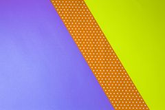 Abstract Geometric Yellow, Purple And Polka Dot Paper Background. Royalty Free Stock Photo