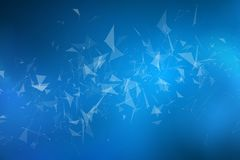 Abstract geometrical background of flying light triangles. Connected triangles. Plexus background. Cover for your design. Blue glo vector illustration
