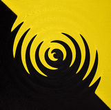 Abstract geometrical black and yellow background from curve swirl shapes Stock Images