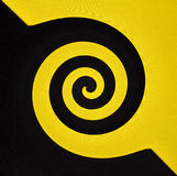 Abstract geometrical black and yellow background from curve swirl shapes Royalty Free Stock Image