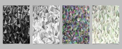 Abstract geometrical chaotic triangle pattern page template set - poster, brochure background graphic designs vector illustration