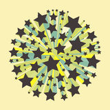 Abstract geometrical 3d multi-colored background. Stars explosion. Vector eps 10 Stock Photo