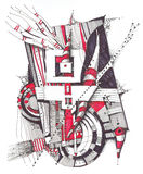 Abstract geometrical drawing. Drawing on paper with pens and markers Royalty Free Stock Photo