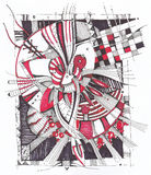 Abstract geometrical drawing. Drawing on paper with pens and markers Royalty Free Stock Image
