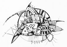 Abstract geometrical drawing. Abstract geometric drawing pen on white paper Royalty Free Stock Photo