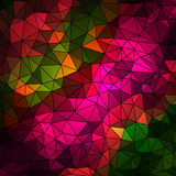 Abstract geometrical multicolored background consisting of bright triangular elements arranged on black background Royalty Free Stock Image