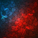 Abstract geometrical multicolored background consisting of triangular elements arranged on black background Stock Images