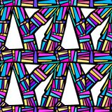 Abstract geometrical seamless rough grunge pattern, modern desig. N template. Hipster hypebeast painted style texture, poster with different doodle letters Royalty Free Stock Images