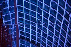 Abstract geometrical squares and blue reflective ceiling Stock Images