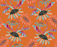 Abstract geometrical sunflower on orange. Hand drawn floral seamless background.Botanical repainting design for fabric or textile.Seamless pattern with flowers Stock Photo