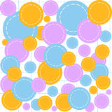 Abstract geometrical vector seamless pattern with multicolored circle shreds on a copybook paper Stock Photos