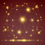 Abstract geometrisch 3D netwerkvoorwerp, vectorillustratie Royalty-vrije Stock Foto