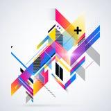 Abstract geometrisch element met kleurrijke gradiënten en het gloeien lichten royalty-vrije illustratie