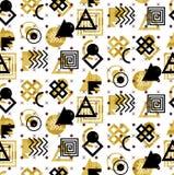 Abstract geometrisch naadloos patroon Gekleurd Azteeks stijlpatroon Naadloos oud muntstukkenpatroon met waterverfbloemen en white vector illustratie